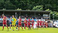 Lyngby's spillere løber på banen til kampen i NordicBet Ligaen mellem FC Helsingør og Lyngby Boldklub den 25. maj 2019 på Helsingør Stadion. (Foto: Claus Birch / ClausBirchDK Sportsfoto).