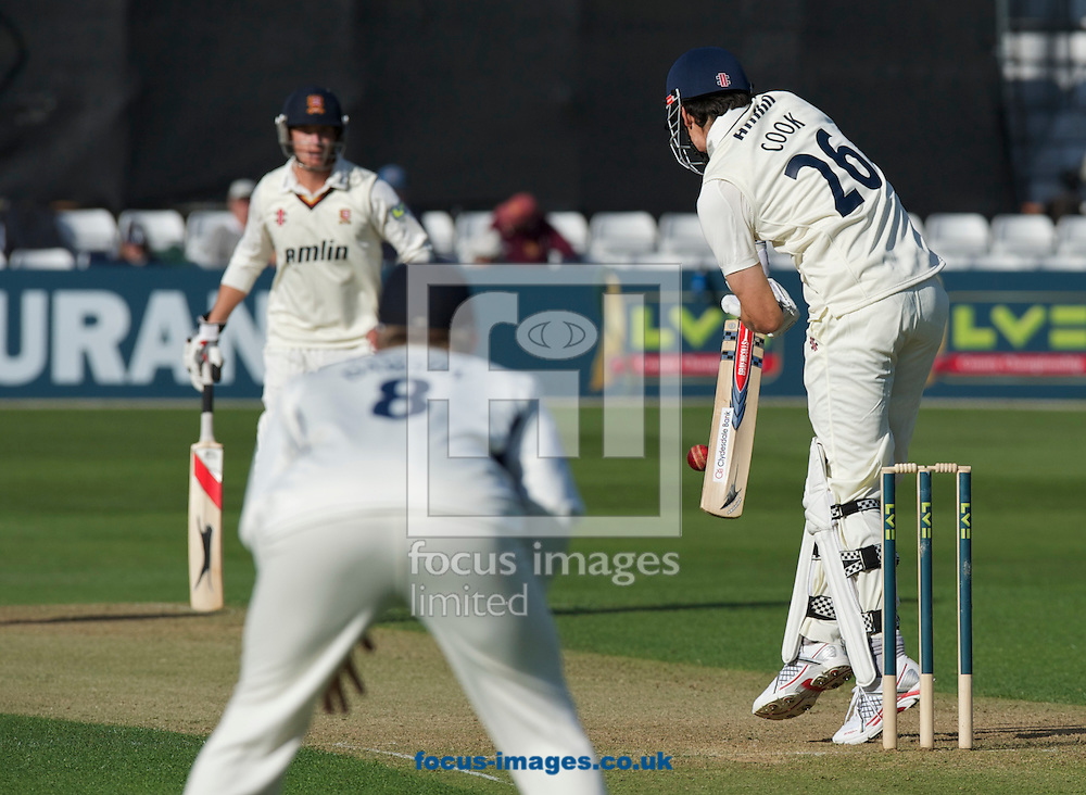 Picture by Alan Stanford/Focus Images Ltd +44 7915 056117.29/04/2013.Alastair Cook of Essex County Cricket Club hits a drive shot that hits the wicket at the far end getting team mate Tom Westley out during the LV County Championship Div Two match at the County Ground, Chelmsford, Chelmsford..