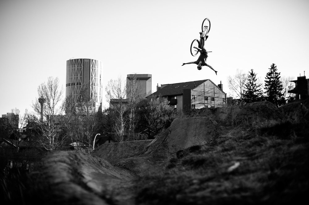 Will McGarvey riding jumps in the beltline district of Calgary's downtown core.