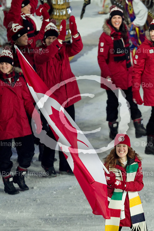 12 February 2010: Team Canada led by Clara Hughes flag bearer. The Opening Ceremony of the XXI Olympic Winter Games, the Vancouver 2010 Winter Olympics, held in BC Place Stadium  in Vancouver,  British Columbia, Canada..