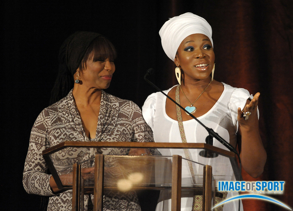 Mar 30, 2012; Austin, TX, USA; Recording artist India Arie (right) and mother Joyce Simpson at the 6th annual Minority Mentorship Symposium at the AT&T Executive Education and Conference Center.