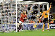 Nottingham Forest striker Chris O'Grady goal is disallowed for offside during the Sky Bet Championship match between Wolverhampton Wanderers and Nottingham Forest at Molineux, Wolverhampton, England on 11 December 2015. Photo by Alan Franklin.