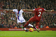 Yannick Bolasie of Crystal Palace (left) scores his team's 1st goal to make it 1-0 during the Barclays Premier League match at Anfield, Liverpool<br /> Picture by Russell Hart/Focus Images Ltd 07791 688 420<br /> 08/11/2015