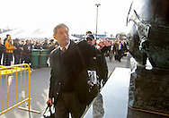 November 12, 2011: Iowa Hawkeyes head coach Kirk Ferentz reaches out to touch the helmet on the Nile Kinnick statue outside of the stadium before the start of the NCAA football game between the Michigan State Spartans and the Iowa Hawkeyes at Kinnick Stadium in Iowa City, Iowa on Saturday, November 12, 2011. Michigan State defeated Iowa 37-21.