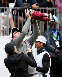 September 10, 2018 - Newtown Square, Pennsylvania, United States - Keegan Bradley celebrates with his wife Jillian and son Logan after winning the 2018 BMW Championship. (Credit Image: © Debby Wong/ZUMA Wire)