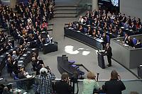 23 MAR 2012, BERLIN/GERMANY:<br /> Joachim Gauck, Bundespraesident, haelt seine Antrittsrede, waehrend der gemeinsamen Sitzung von Bundestag und Bundesrat anl. der Vereidigung des Bundespraesidenten, Plenum, Deutscher Bundestag<br /> IMAGE: 20120323-02-041<br /> KEYWORDS: Rede, speech, Übersicht, Plenarsaal