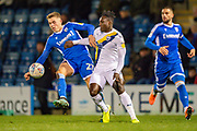 Gillingham FC defender Jack Tucker (27) and Oxford United forward Dan Agyei (23)  during the EFL Sky Bet League 1 match between Gillingham and Oxford United at the MEMS Priestfield Stadium, Gillingham, England on 18 January 2020.