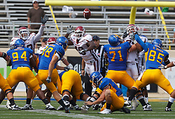 September 24, 2011; San Jose, CA, USA;  San Jose State Spartans kicker Jens Alvernik (98) kicks a field goal to tie the game against the New Mexico State Aggies during the second quarter at Spartan Stadium.