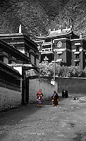 Nomad women walking around Labrang monastery complex in Xiahe, China.