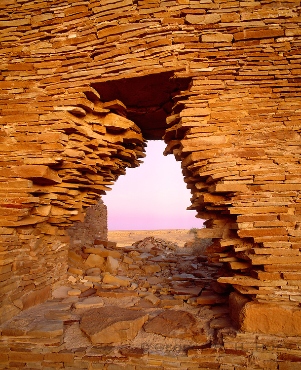 0204-1019B ~ Copyright: George H. H. Huey ~ Wall at Penasco Blanco, unexcavated Anasazi culture 'great house' on West Mesa, constructed @ A.D. 900-1125. Chaco Culture National Historical Park, New Mexico.