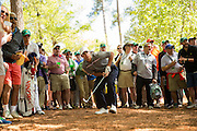 Amateur Derek Bard watches his second shot from the pine straw at the 13th hole during the second round of the 2016 Masters Tournament.Golf: 2016 Masters<br /> Round 2 Friday<br /> Augusta National/Augusta, GA,USA<br /> 04/08/2016<br /> SI-14 TK2<br /> Credit: Darren Carroll