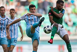 Miha Gregoric of ND Gorica and Abass Issah of NK Olimpija Ljubljana during football match between NK Olimpija Ljubljana and ND Gorica in Round #29 of Prva liga Telekom Slovenije 2017/18, on April 29, 2018 in SRC Stozice, Ljubljana, Slovenia. Photo by Urban Urbanc / Sportida
