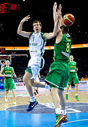 Goran Dragic of Slovenia vs Paulius Jankunas of Lithuania during basketball game between National basketball teams of Slovenia and Lithuania at of FIBA Europe Eurobasket Lithuania 2011, on September 15, 2011, in Arena Zalgirio, Kaunas, Lithuania.  (Photo by Vid Ponikvar / Sportida)