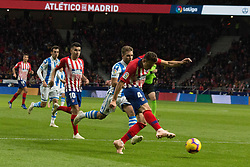 October 27, 2018 - Madrid, Madrid, Spain - Arias (R) shoot to goal..during the match between Atletico de Madrid vs Real Sociedad. Atletico de Madrid won by 2 to 0 over Real Sociedad whit goals of Godin and Filipe Luis. (Credit Image: © Jorge Gonzalez/Pacific Press via ZUMA Wire)