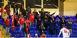 CHESTER, ENGLAND - Friday, October 23, 2015: Benfica supporters during the Premier League International Cup match against Liverpool at the Deva Stadium. (Pic by David Rawcliffe/Propaganda)