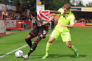 Amari Morgan-Smith and Will Beesley during the Vanarama National League match between Cheltenham Town and Southport at Whaddon Road, Cheltenham, England on 15 August 2015. Photo by Antony Thompson.