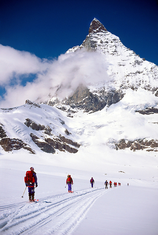 Skiing in front of the Matterhorn on the Haute Route, Switzerland