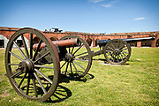 Canons inside Fort Pulaski National Monument on Cockspur Island between Savannah and Tybee Island, Georgia.