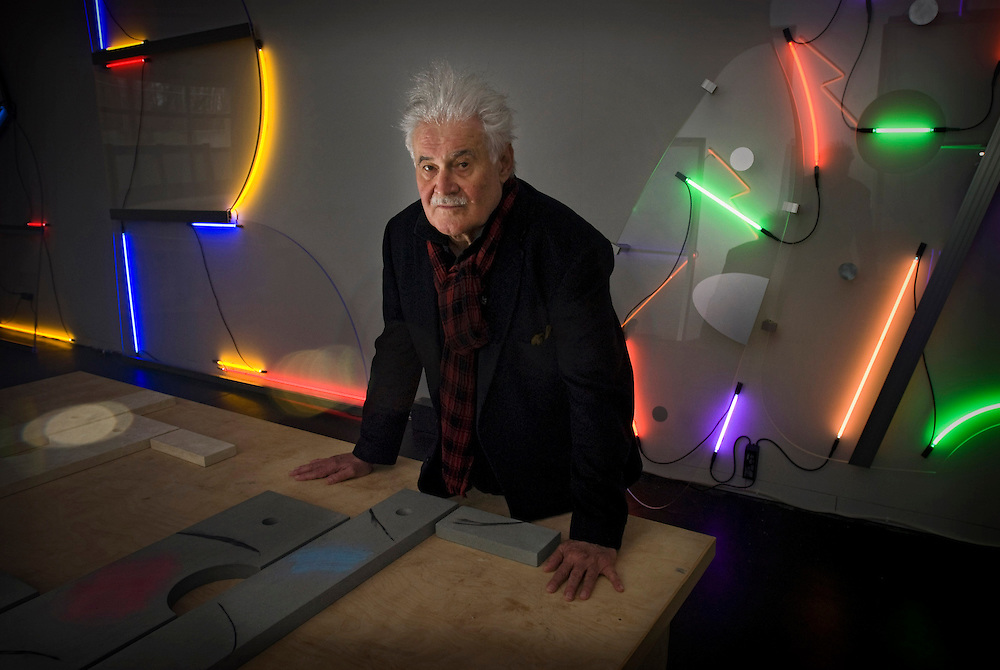 Keith Sonnier is a Postminimalist, performance, video and light artist. Sonnier was one of the first artists to use light in sculpture in the 1960s, and has been one of the most successful with this technique. Sonnier was a part of the Process Art Movement. Here, he is photographed in his Bridgehampton studio.
