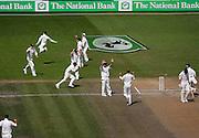 The Black Caps celebrate the dismissal of Matthew Hoggard.<br /> National Bank Test Match Series, New Zealand v England, 1st Test at Seddon Park, Hamilton, New Zealand. Day 5. Sunday, 9 March 2008. Photo: Dave Lintott/PHOTOSPORT