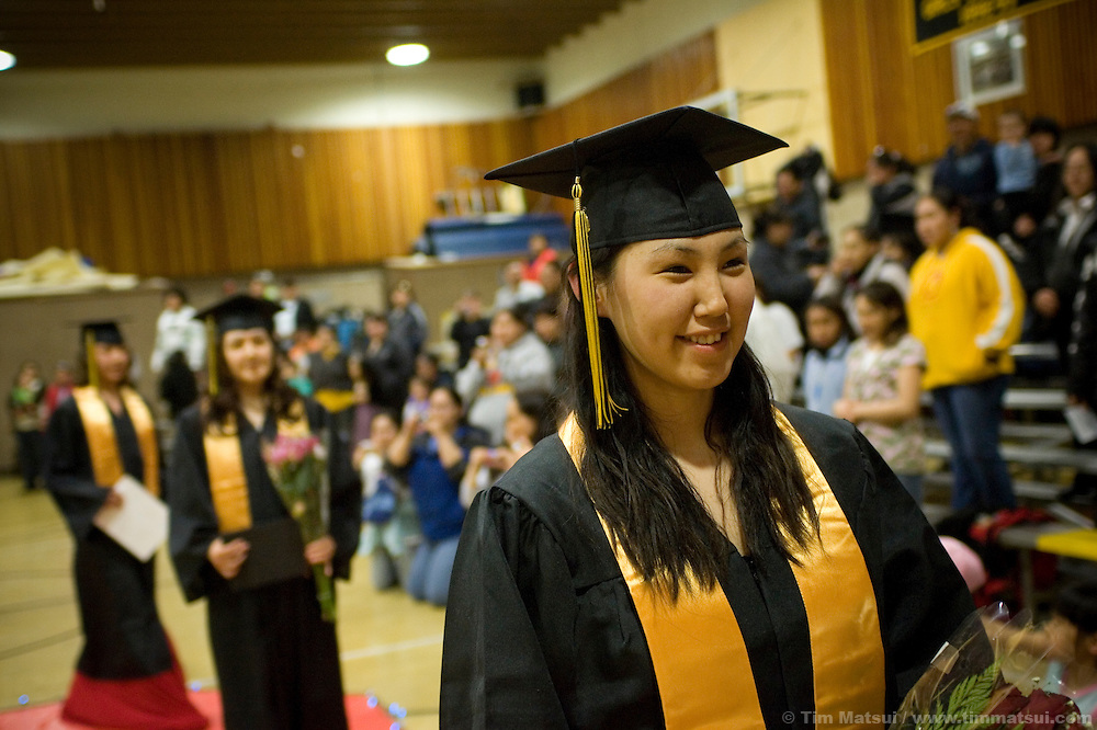 May 2, 2008 -- Kivalina, AK, U.S.A..Kandes Sage after receiving her high school diploma in the native village of Kivalina, Alaska. Kivalina is suing 20 oil companies for property damage related to global warming; the ocean pack ice forms later and melts earlier, leaving the town vulnerable to erosive winter storms and endangering their traditional subsistence lifestyle. (Photo by Tim Matsui)
