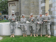West Point military cadets outside having a picnic