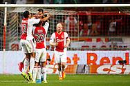 15-08-2015 VOETBAL:AJAX-WLLEM II:AMSTERDAM<br /> Anwar El Ghazi van Ajax viert zijn doelpunt met Kenny Tete van Ajax en Riechedley Bazoer van Ajax en Jairo Riedewald van Ajax <br /> <br /> <br /> Foto: Geert van Erven