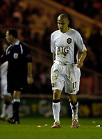 Photo: Jed Wee/Sportsbeat Images.<br /> Middlesbrough v Manchester United. The FA Cup. 10/03/2007.<br /> <br /> Manchester United's Henrik Larsson plays his last game for the club.