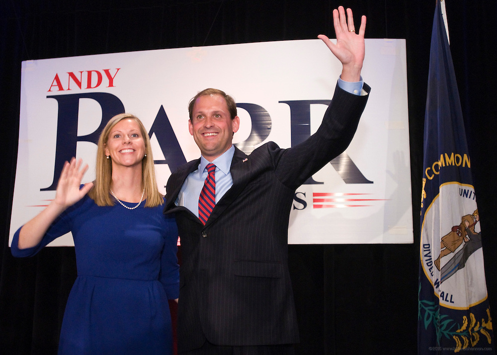 Republican Andy Barr and his wife Carol present themselves to supporters Tuesday, Nov. 6, 2012 at the Marriott Griffin Gate in Lexington, Ky., to claim Kentucky's 6th Congressional District win from the incumbent, U.S. Rep. Ben Chandler, a Democrat. (AP Photo/Brian Bohannon)