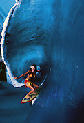 Girl in fiberglass wave, Waikiki
