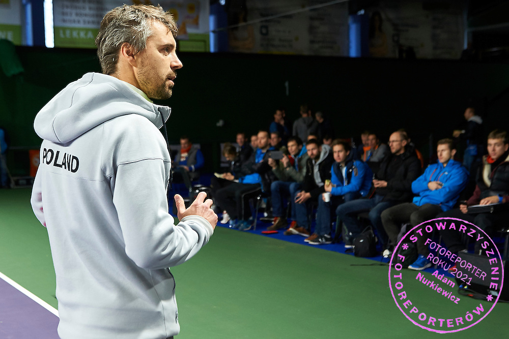 Trainer Boleslaw Szmyd shows training's exercises during PZT - Trainer's Conference of Polish Tennis Association at Mera Hall in Warsaw, Poland.<br /> <br /> Poland, Warsaw, November 29, 2015<br /> <br /> Picture also available in RAW (NEF) or TIFF format on special request.<br /> <br /> Any editorial, commercial or promotional use requires permission.<br /> <br /> Adam Nurkiewicz declares that he has no rights to the image of people at the photographs of his authorship.<br /> <br /> Mandatory credit:<br /> Photo by &copy; Adam Nurkiewicz / Mediasport
