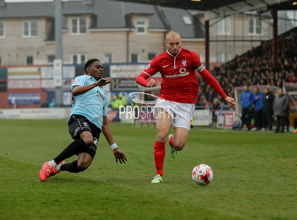 Russ Penn during the Sky Bet League 2 match between York City and Cheltenham Town at Bootham Crescent, York, England on 3 April 2015. Photo by Simon Davies.
