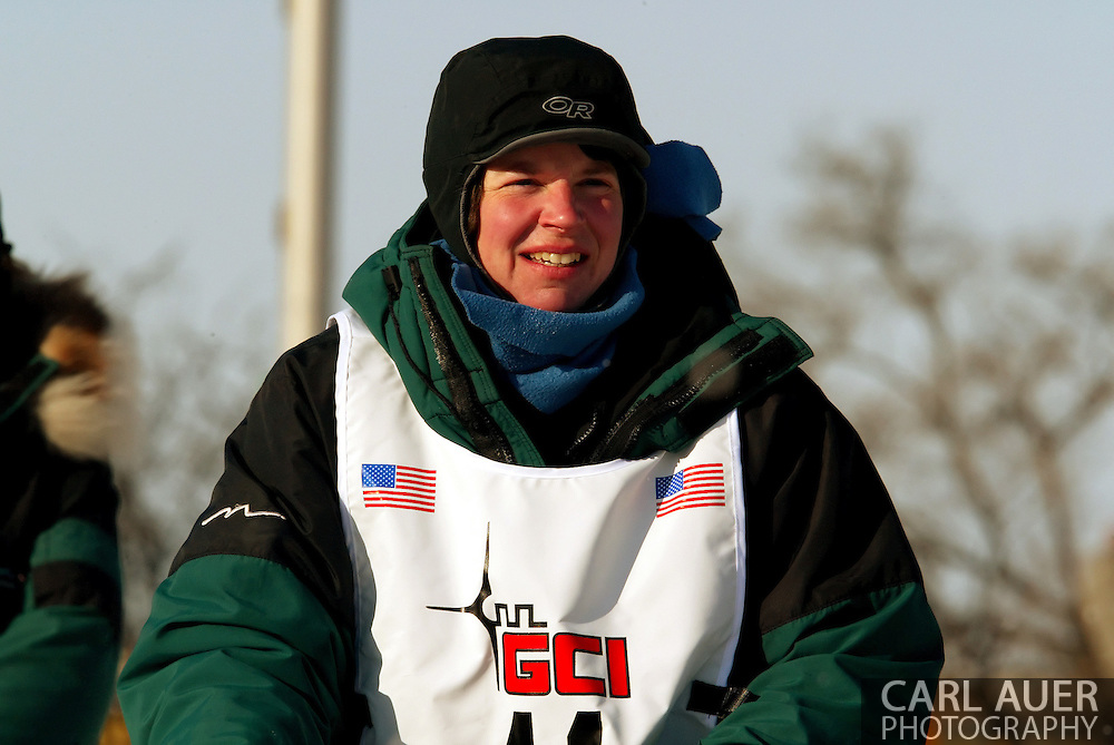 3/3/2007:  Anchorage Alaska -  Rookie Ellen Halverson of Wasilla, AK during the Ceremonial Start of the 35th Iditarod Sled Dog Race