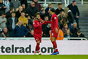 Mohamed Salah (#11) of Liverpool celebrates Liverpool's second goal (1-2) with Virgil van Dijk (#4) of Liverpool during the Premier League match between Newcastle United and Liverpool at St. James's Park, Newcastle, England on 4 May 2019.