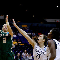 Mar 24, 2013; Baton Rouge, LA, USA; Cal Poly Mustangs guard Jonae Ervin (2) shoots over Penn State Lady Lions guard Gizelle Studevent (25) and forward/center Nikki Greene (54) in the first half during the first round of the 2013 NCAA womens basketball tournament at the Pete Maravich Assembly Center. Mandatory Credit: Derick E. Hingle-USA TODAY Sports
