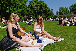 © Licensed to London News Pictures. 26/06/2017. London, UK. Office workers and tourists enjoy the hot weather and bright sunshine in Victoria Embankment Gardens. Photo credit : Stephen Chung/LNP