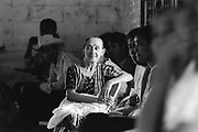 A member of the community participating in public discussions and debate around the future direction of the agricultural cooperative.<br /> Nueva Esperanza, El Salvador, 1999