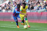 Fotball<br /> Frankrike<br /> 05.04.2015<br /> Foto: Panoramic/Digitalsport<br /> NORWAY ONLY<br /> <br /> Georges Kevin Nkoudou (Nantes)<br /> Dennis Appiah (Caen)<br /> <br /> Nantes vs Caen - Ligue 1