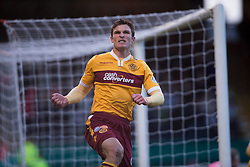 Motherwell's John Sutton cele scoring their goal. <br /> half time : Dundee 3 v 1 Motherwell, SPFL Premiership played 10/1/2015 at Dundee's home ground Dens Park.