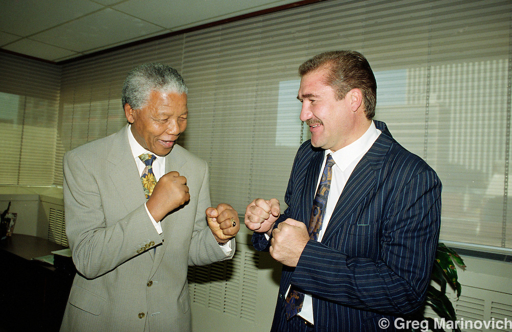 Nelson Mandela meets former wolrd heavyweight boxing champion Gerrie Coetzee, Johannesburg, South Africa.