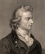 Johann Christoph Friedrich Schiller (1759-1805) German poet, dramatist and historian, writer of 'Sturm and Drang' verse plays. He numbered Goethe among his friends.  His 'An die Freude' was set by Beethoven in the last movement of his Ninth (Choral) Symphony.  Engraving from 'The Gallery of Portraits' Vol VII by Charles Knight (London, 1837).