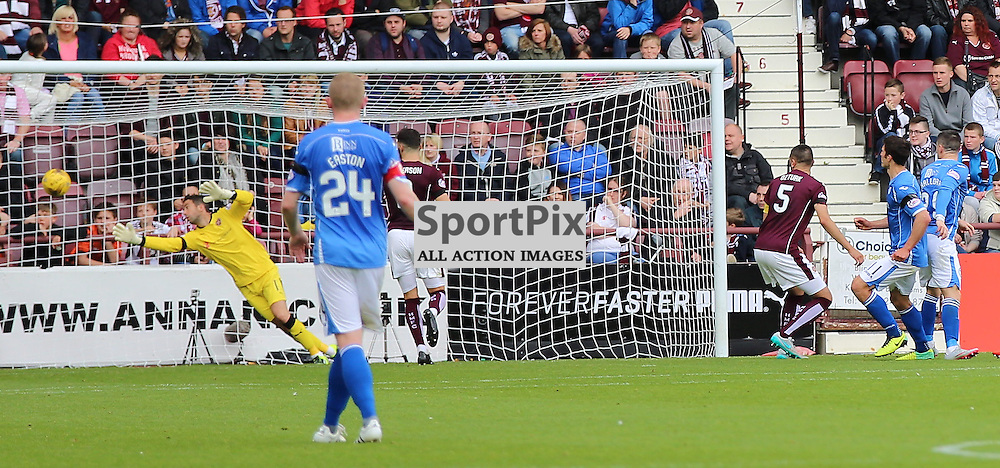Hearts v St Johnstone Scottish Premiership 2 August 2015; John Sutton (St Johnstone, 11) scores during the Heart of Midlothian v St Johnstone Scottish Premiership match played at Tynecastle Stadium, Edinburgh; <br /> <br /> &copy; Chris McCluskie | SportPix.org.uk
