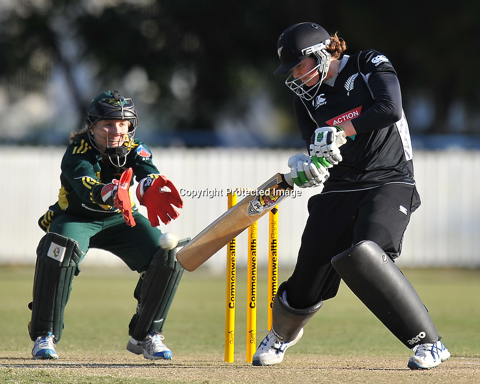Nicola Browne plays a late cut shot for New Zealand ~ Game 7 (ODI) of the Rose Bowl Trophy Cricket played between Australia and New Zealand at Alan Border Field in Brisbane (Australia) ~ Thursday 16th June 2011 ~ Photo : Steven Hight (AURA Images) / Photosport
