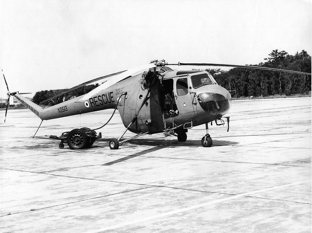 Royal Air Force Sycamore XG513 rescue helicopter stationed at RAF Sylt, Germany, 1955. The helicopter was written of after crashing in 1957. Photograph by Nicholas Snowdon.
