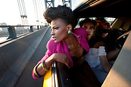 Noisettes, going over the Manhattan Bridge, NYC, Shot by Tim Knox. 1st Aug 2009.