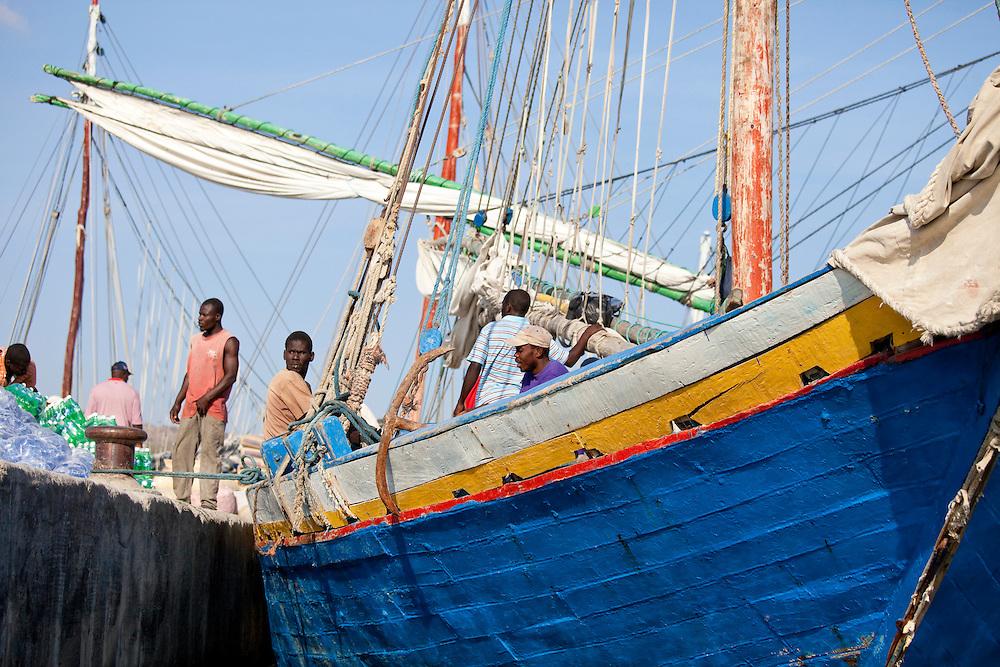 A boat docked in the harbor at Ile La Gonave, Haiti