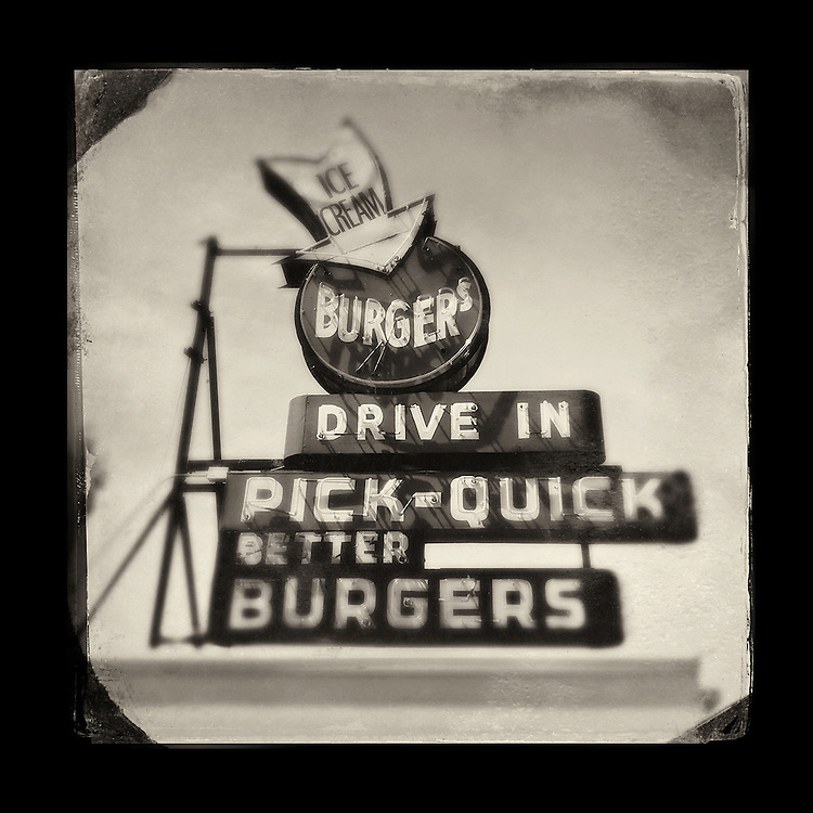 "Charles Blackburn image of the Pick-Quick Burgers sign in Fife, WA. 5x5"" print."