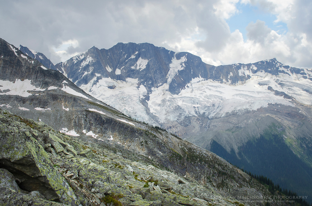Bonney Glacier and Mount Bonney, seen from Abbott Ridge. Selkirk Mountains, Glacier National Park British Columbia