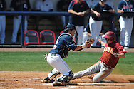Alabama's Andrew Miller (right) scores on a squeeze play as Ole Miss catcher Miles Hamblin (24) takes the throw at Oxford-University Stadium in Oxford, Miss. on Sunday, March 20, 2011.  (AP Photo/Oxford Eagle, Bruce Newman)