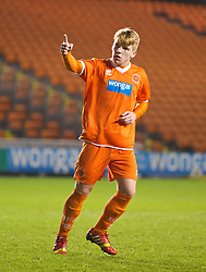 BLACKPOOL, ENGLAND - Wednesday, December 18, 2013: Blackpool's Conor Ready celebrates scoring his side's first penalty of the shoot-out against Liverpool to make it 1-1 during the FA Youth Cup 3rd Round match at Bloomfield Road. (Pic by David Rawcliffe/Propaganda)